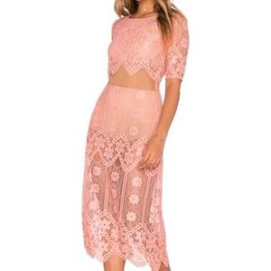 For Love and Lemons Peach/Pink Lace Midi Dress